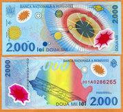 "1999 Romania 2000 Lei - 1st ever Polymer! ""Solar Eclipse"" World Currency, Uncirculated"