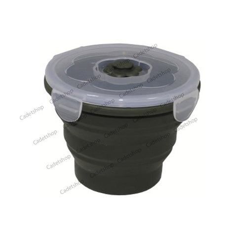 MFH Round Foldable Bowl  with lockable lid OD green