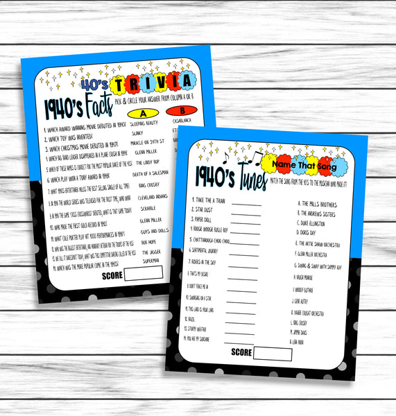 1940s Trivia Songs Music Virtual Printable Games Instant Download