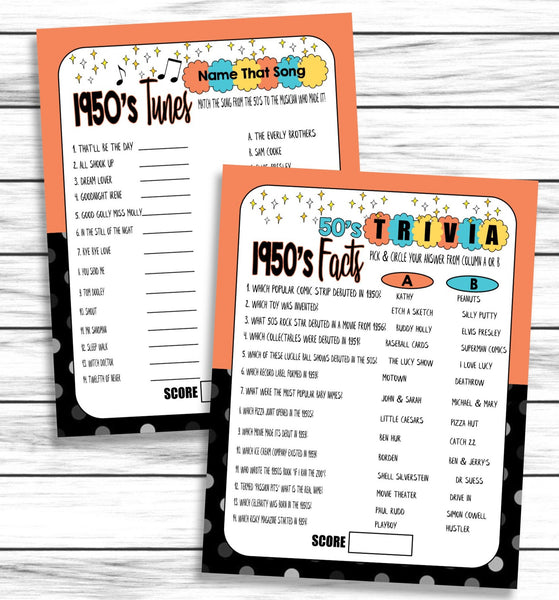 1950s Tunes Trivia Facts Printable and Virtual 70th Anniversary Party Games