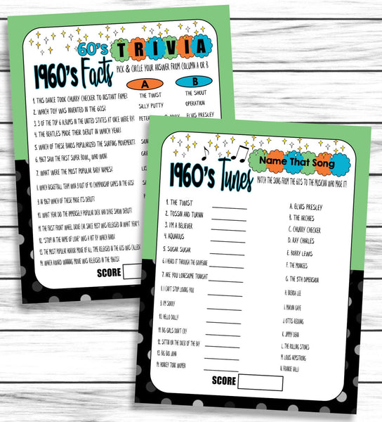 60th Anniversary 1960s Music, Facts Trivia Printable or Virtual Zoom Games