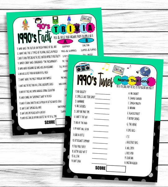 30th Anniversary Party Games, 1990s Wedding Anniversary,Virtual or Printable Games