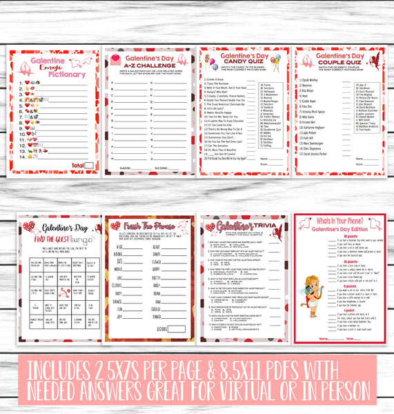 15 Galentines Day Party Family Game Set Printable Or Virtual Adults Enjoymyprintables