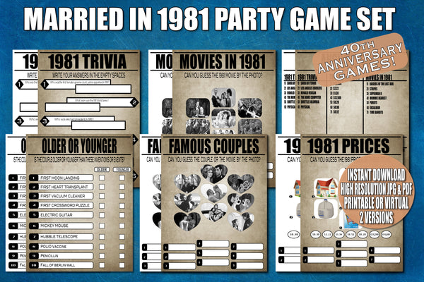 40th anniversary party printable or virtual games ideas decor