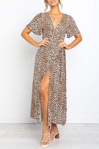 Katielike V Neck Leopard Printed Ankle Length Maxi Dress