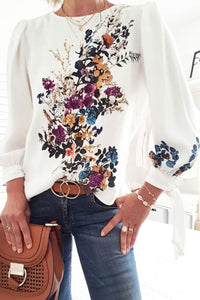 Katielike O Neck Floral White Blouse