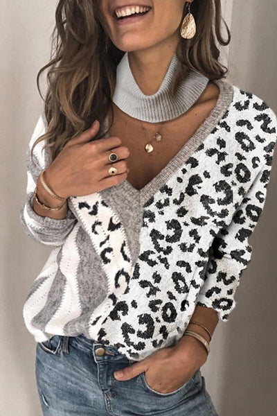 Katielike Patchwork Leopard Printed Hollow-Out Grey Sweater