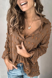 Katielike Turndown Collar Patchwork Shirt