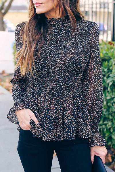 Katielike Dot Printed Black Blouse