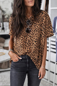 Katielike Leopard Printed Brown T-shirt
