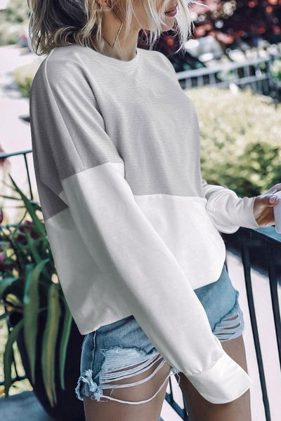 Katielike Patchwork Grey Sweatshirt