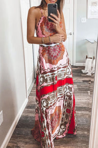 Katielike Print Red Maxi Dress