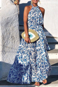 Katielike Print Blue Maxi Dress
