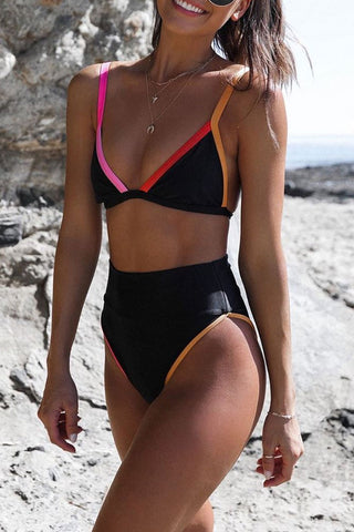 Katielike High-waisted Black Two-piece Swimsuit