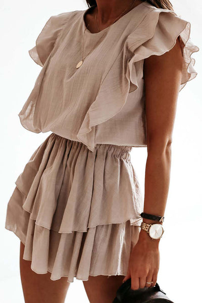 Katielike Flounce Design Beige Mini Dress · Presale