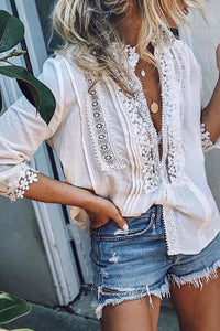 Katielike Lace Patchwork White Shirt