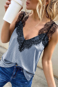 Katielike Lace Patchwork  Camisole (2 Colors)