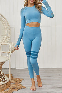 Katielike Patchwork Blue Two-Piece Pants Set