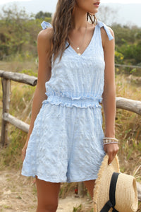 Katielike Lace-Up Skyblue One-Piece Romper