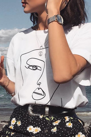 Katielike O Neck Printed White T-Shirt