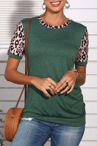 Katielike Leopard Patchwork Green T-Shirt