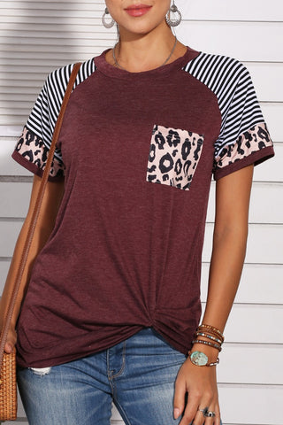 Katielike Leopard Patchwork Wine Red T-Shirt