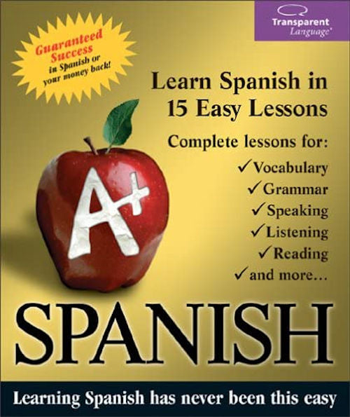 A+ Spanish - Ages 12 - Adult. Introductory course in 15 lessons covering vocabulary, grammar, speaking, listening, reading and much more.