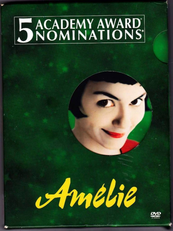 Amélie DVD - 2001 film directed by Jean-Pierre Jeunet. The title character (the bashful and impish Audrey Tautou)