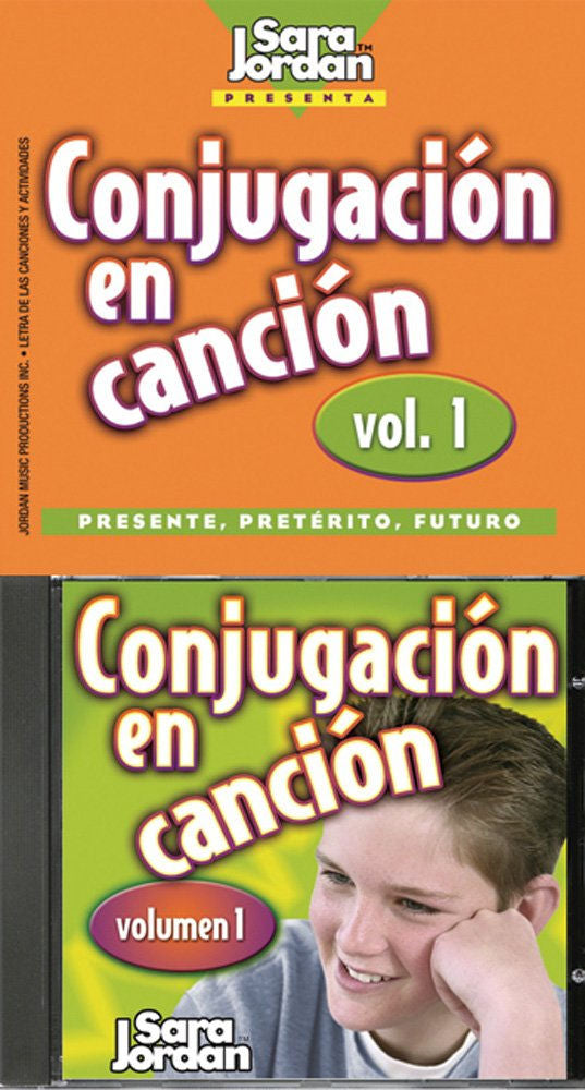 Conjugación en Canción CD and booklet - Entertaining songs in Spanish from Sara Jordan teach conjugations of high frequency verbs in the present, preterit and future tenses,