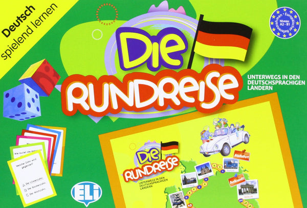 "Die Rundreise - A classic board game, a linguistic trip where the road winds between questions on grammar, culture, history, geography, idiomatic expressions, riddles and ""odd one outs"""
