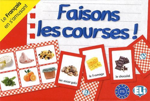 Faisons les courses - This beginning level (Level A1-A2) French board game takes you grocery shopping. Learn foods and beverages in a stimulating and entertaining atmosphere.