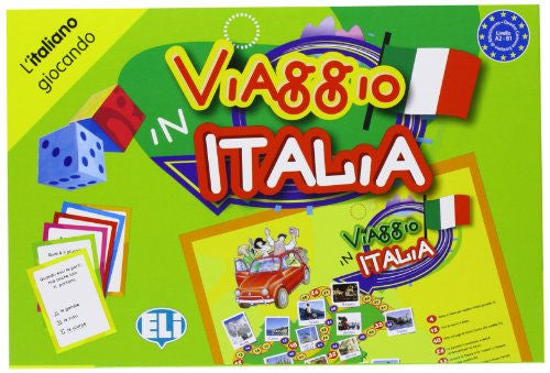 "Viaggio in Italia - A classic board game, a linguistic trip where the road winds between questions on grammar, culture, history, geography, idiomatic expressions, riddles and ""odd one outs"""