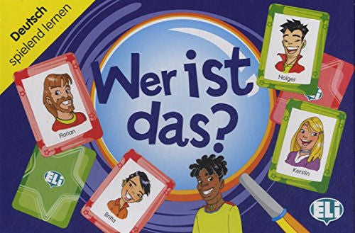 Wer ist das? A card game for first and second year students to learn and review vocabulary and structures relating to physical descriptions.