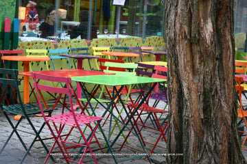 Colorful Café Chairs Poster