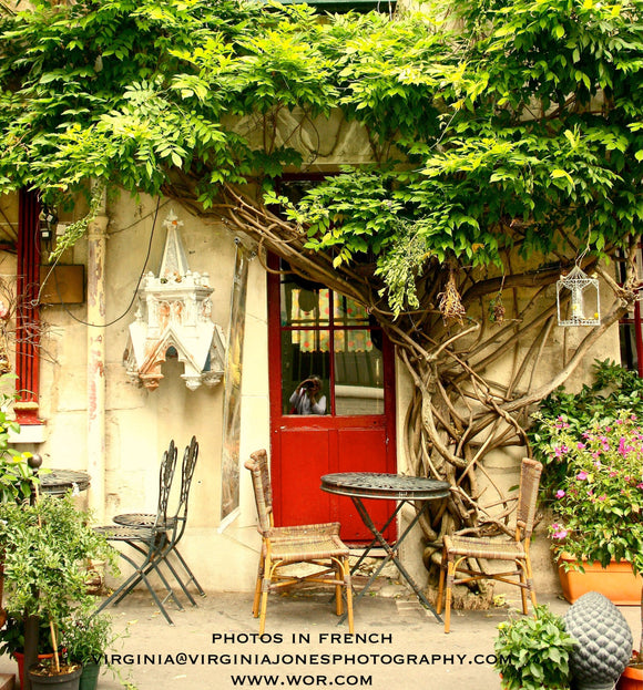 French Countryside Building with Red Door Poster