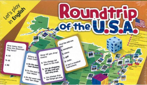 Roundtrip of the U.S.A. This is an exciting new game which allows players to broaden their knowledge of the U.S. as they travel around the board.