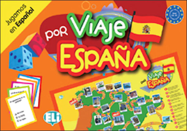 "Viaje por España - For ages 8 - 18. A classic board game, a linguistic trip where the road winds between questions on grammar, culture, history, geography, idiomatic expressions, riddles and ""odd one outs"""