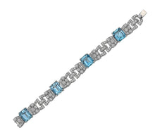 Load image into Gallery viewer, Raymond C. Yard, Aquamarine and Diamond, Platinum Bracelet