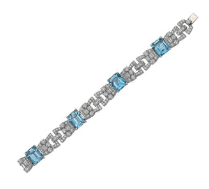 Raymond C. Yard, Aquamarine and Diamond, Platinum Bracelet