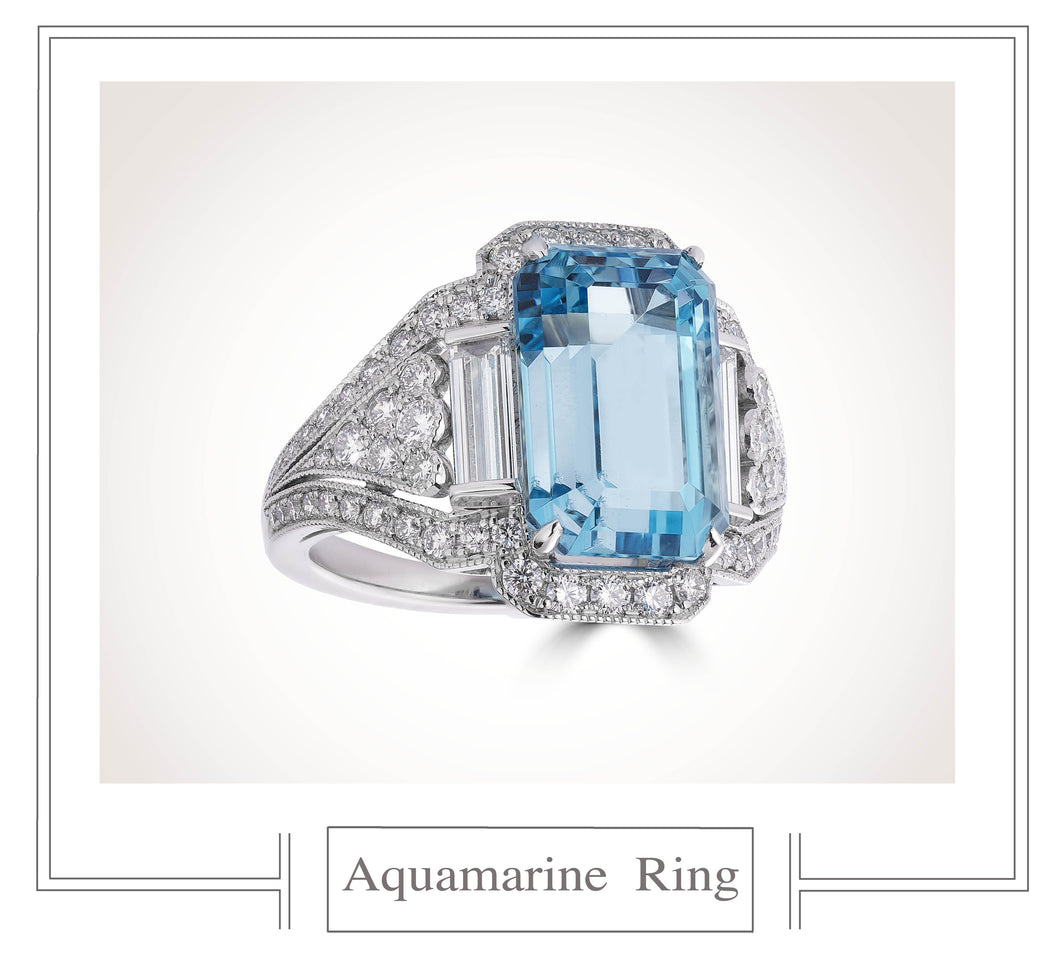 Raymond C. Yard, Aquamarine and Diamond, Platinum Ring