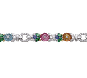 Raymond C. Yard, Multi-Color Gemstones and Diamond, Platinum Bracelet