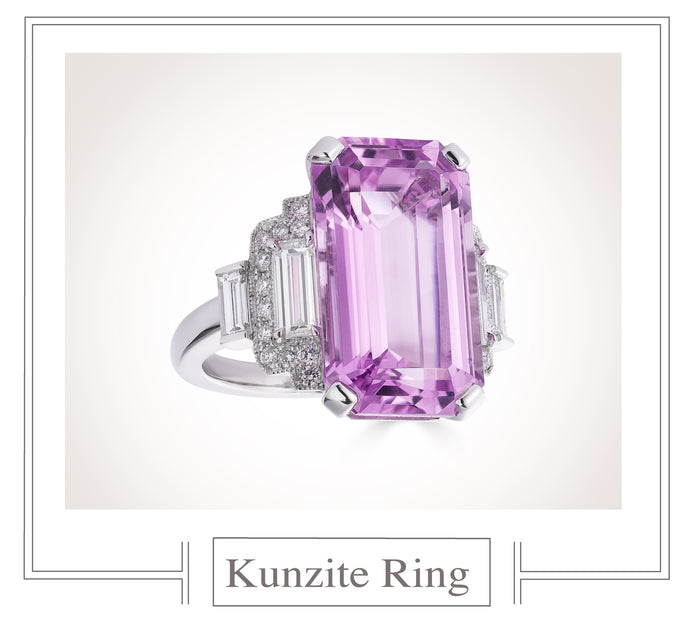 Raymond C. Yard, Kunzite and Diamond, Platinum Ring
