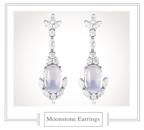 Raymond C. Yard, Moonstone, Diamond, Platinum Earrings