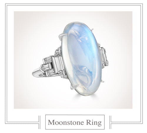 Raymond C. Yard, Moonstone and Diamond, Platinum Ring
