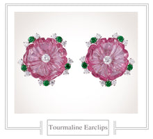 Load image into Gallery viewer, Raymond C. Yard, Pink Tourmaline and Diamond, Platinum Earclips
