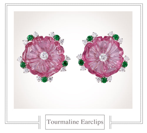 Raymond C. Yard, Pink Tourmaline and Diamond, Platinum Earclips