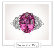 Load image into Gallery viewer, Raymond C. Yard, Pink Tourmaline and Diamond, Platinum Ring