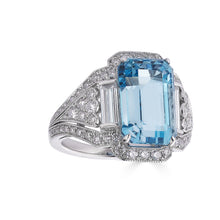 Load image into Gallery viewer, Raymond C. Yard, Aquamarine and Diamond, Platinum Ring