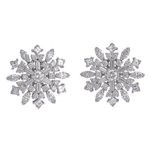 Load image into Gallery viewer, Raymond C. Yard, Snowflakes, Diamonds, Platinum, Earclips
