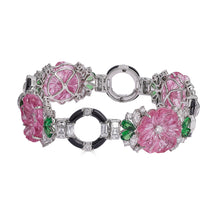 Load image into Gallery viewer, Raymond C. Yard, Pink Tourmaline, Tsavorite, Diamond, Platinum Bracelet